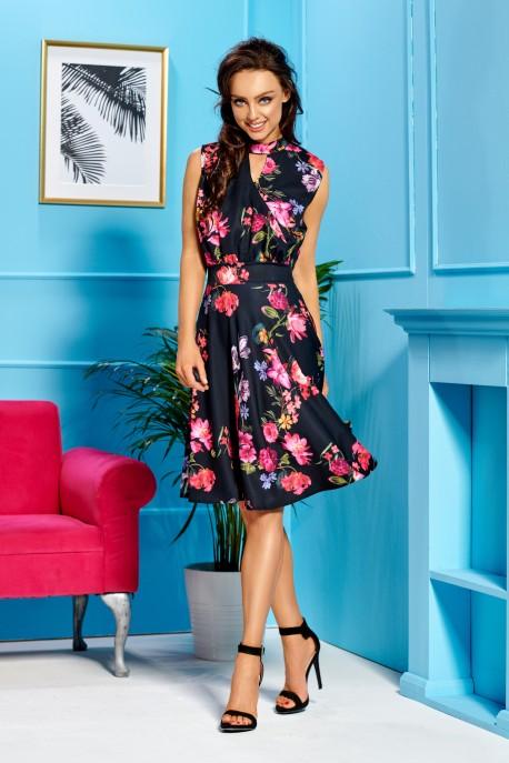 Sleeveless dress for the knee length L306 black