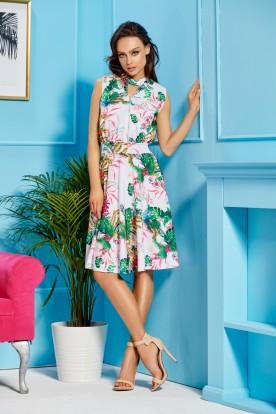 Sleeveless dress for the knee length L306 white