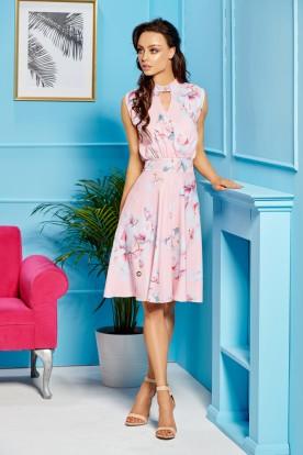 Sleeveless dress for the knee length L306 powder pink