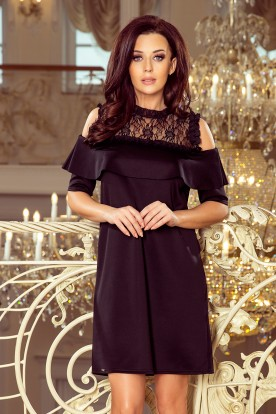 247-1 Dress with lace and bare shoulders - black