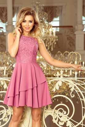236-1 XENIA - Dress with frill and lace - light purple