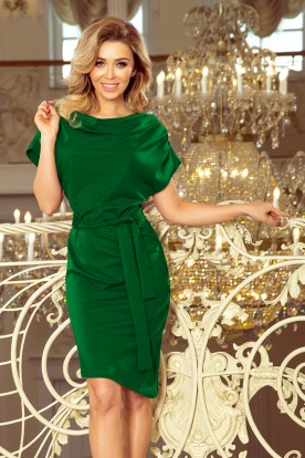 240-1 ROXI dress with asymmetrical skirt and belt - green