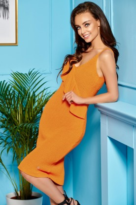 Sweater dress with straps and valance LSG102 orange