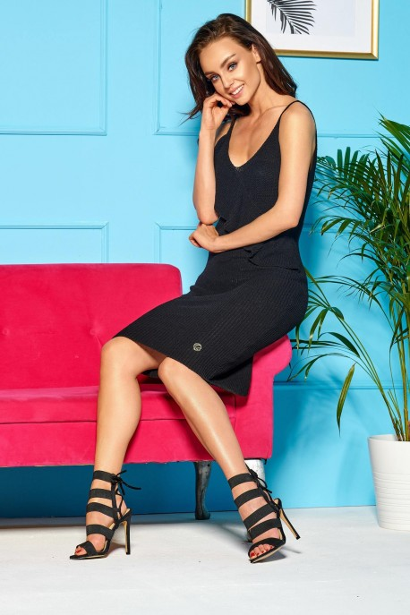Sweater dress with straps and valance LSG102 black
