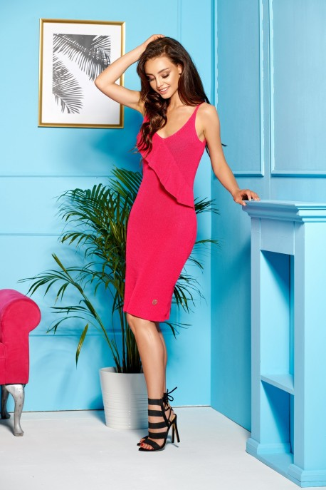 Sweater dress with straps and valance LSG102 pink