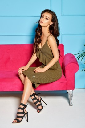 Sweater dress with straps and valance LSG102 khaki