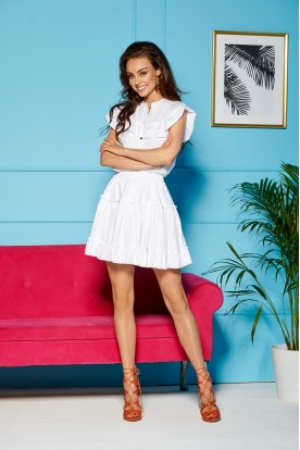 Set blouse + skirt with ruffles LG500 white