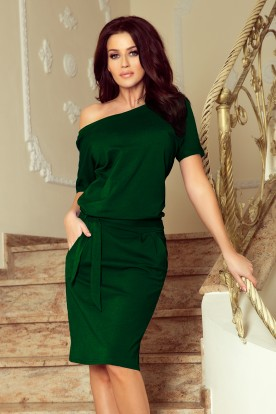 249-2 CASSIE - dress with short sleeves - green