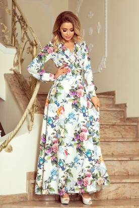 245-1 Long dress with frill and cleavage - colorful roses and blue birds