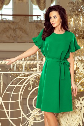 229-3 ROSE dress with ruffles on the sleeves - green color