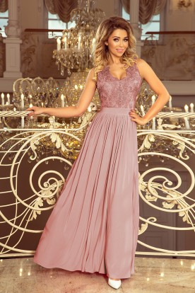 215-5 LEA long sleeveless dress with embroidered cleavage - TAUPE