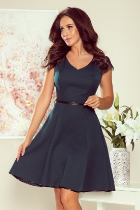 254-1 SILVIA Dress with lace inserts - green