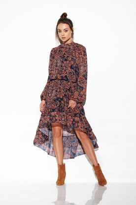 Dress with shorter front LG504 print 2