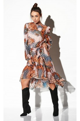 Dress with shorter front LG504 print 11