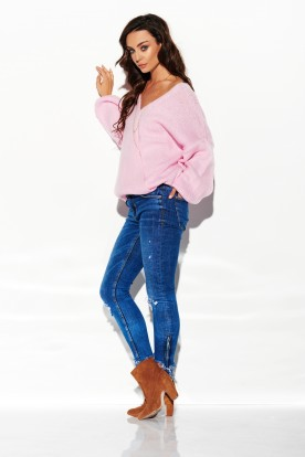 Sweater with big cleavage LSG111 light pink