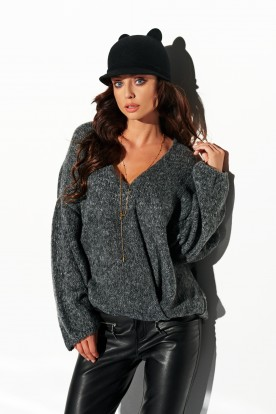 Sweater with big cleavage LSG111 dark grey