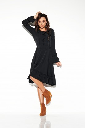 Dress with laced cleavage in colours L313 black