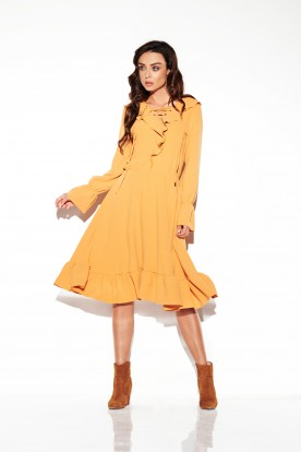 Dress with laced cleavage in colours L313 camel