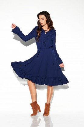 Dress with laced cleavage in colours L313 navy
