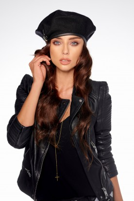 Beret with buttons LGK104 black