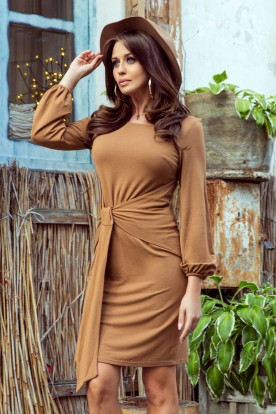 275-1 JENNY Comfortable dress with binding at the waist - caramel