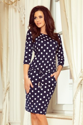 13-101 Sports dress with binding and pockets - navy blue + polka dots