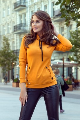 262-1 Hooded sweatshirt with pockets - mustard