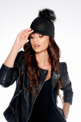 Cap with pompom from eco leather LGK102 black