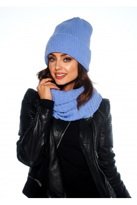 Oversized cap with pompom for winter LC109 light blue