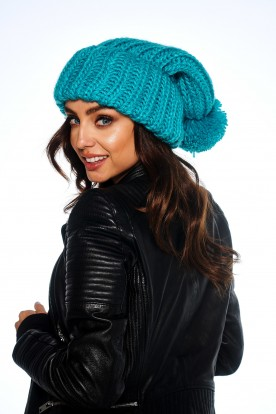 Basic set cap with chimney scarf LC121 turquoise