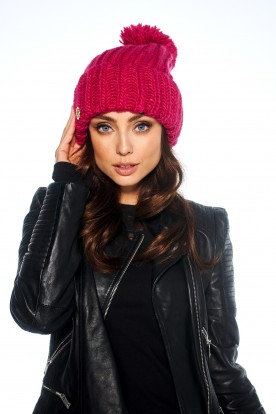 Basic set cap with chimney scarf LC121 pink