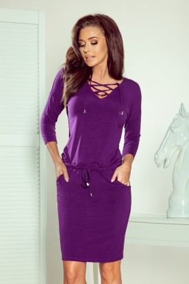 230-4 JANET Sports dress with binding - violet