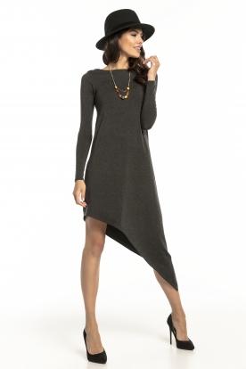 Tamsiai pilka asimetrinė suknelė