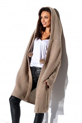 Cardigan with pompoms and hood LS269 camel