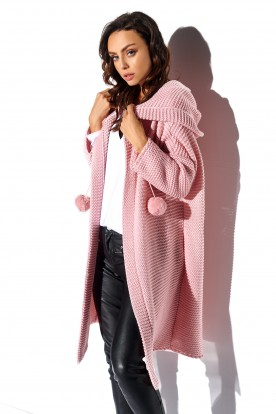 Cardigan with pompoms and hood LS269 powder pink