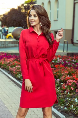 284-1 CAMILLE Shirt dress with pockets - red