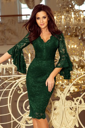 234-3 Lace dress with flared sleeves - dark green