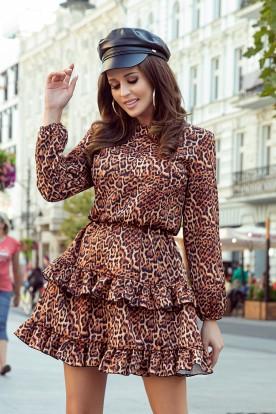 285-1 ROMI frill dress - leopard print