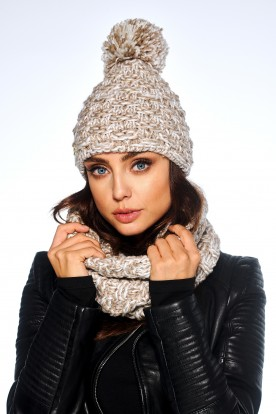 Feminine SET: Cap with pompom and chimney scarf LC114 cappuccino