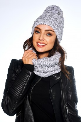 Feminine SET: Cap with pompom and chimney scarf LC114 light grey