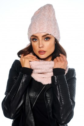 Mohair SET: Cap and chimney scarf LC123 powder pink