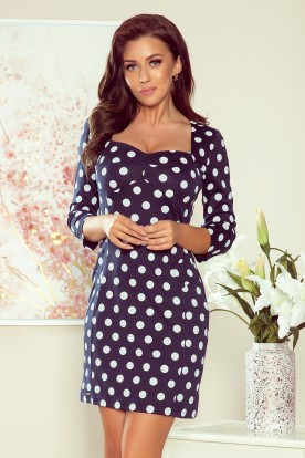 263-1 ADELA Dress with a neckline - navy blue with polka dots