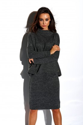 SET: A turtleneck sweater and skirt LS260 dark grey