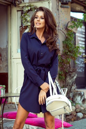 288-1 Shirt dress with buttons - dark blue