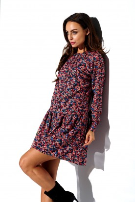 Shirt dress with frill and buttons L311 print 10