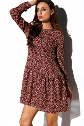 Shirt dress with frill and buttons L311 print 7