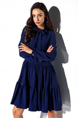 Dress with a bow in colours L319 navy