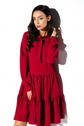 Dress with a bow in colours L319 crimson