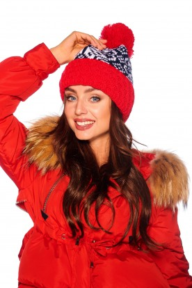 Cap with pompom snowflake LC108 red