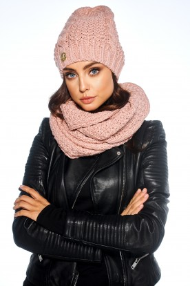 SET: classic cap and chimney scarf LC111 powder pink
